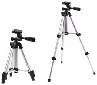 QUXXA 3110 Portable & Foldable Camera - Mobile Tripod With Mobile Clip Holder Bracket   Fully Flexible Tripod Kit  (Black  Silver  Supports Up to 1500)
