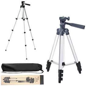 QUXXA MB-3110 Tripod Stand for Mobile, GoPro & DSLR Camera (Silver Black Supports Up to 1500 g)