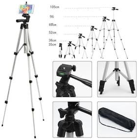 MSTC Portable Adjustable Lightweight Camera Stand Tripod-3110 Video Cameras and mobile clip holder for Mobiles Smartphones Tripod  (Silver, Black, Supports Up to 1500 g)