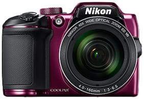 Nikon Coolpix B500 16 MP High Zoom Point & Shoot Camera (Plum) + HDMI Cable + Carry Case + 16GB SD Card