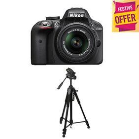 Nikon D3300 (with AF-S 18-55 mm VR Kit Lens) 24.2 MP DSLR Camera (Black) + FREE Nikon DSLR Bag + 8GB Memory Card with Free Photron Stedy 450 Tripod