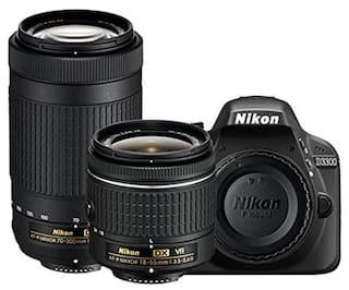 Nikon D3300 Kit (AF-P DX 18-55 Mm VR + AF-P DX NIKKOR 70-300mm F/4.5-6.3G ED VR Kit Lenses) 24.2 MP DSLR Camera (Black) + FREE Nikon DSLR Bag + 16GB Memory Card