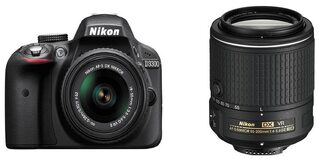 Nikon D3300 (with AF-S 18-55 mm VR + AF-S 55-200 mm VRII Kit Lenses) 24.2 MP DSLR Camera (Black) + FREE Nikon DSLR Bag + 16GB Memory Card