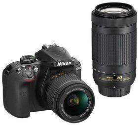 Nikon D3400 D-ZOOM KIT (AF-P DX NIKKOR 18-55mm f/3.5-5.6G VR + AF-P DX NIKKOR 70-300mm f/4.5-6.3G ED VR) 24.2 MP DSLR Camera (Black) + Bag + 16GB Memory Card