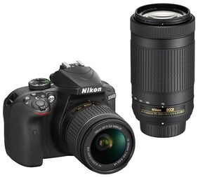 Nikon D3400 D-ZOOM KIT (AF-P DX NIKKOR 18-55mm f/3.5-5.6G VR + AF-P DX NIKKOR 70-300mm f/4.5-6.3G ED VR) 24.2 MP DSLR Camera (Black) + Bag + 16GB Memory Card