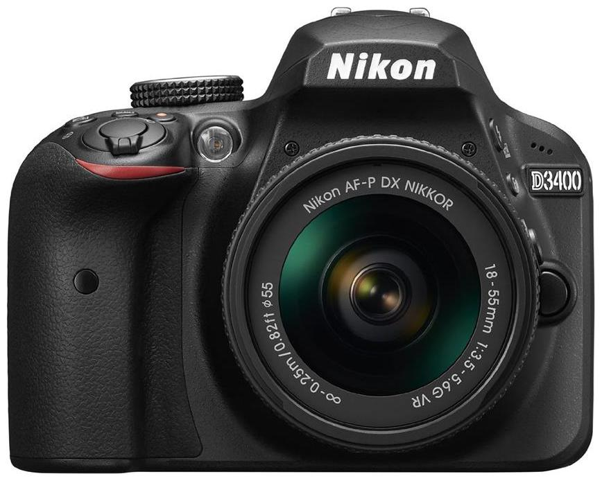 Nikon D3400 Kit  AF P DX NIKKOR 18 55mm F/3.5 5.6G VR  DSLR Camera  Black  + Bag + 16  GB Memory Card