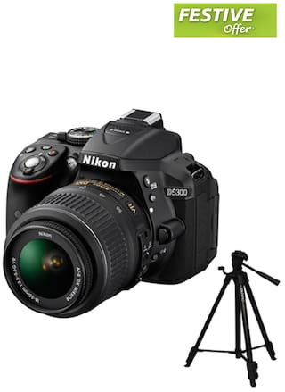 Nikon D5300 (with AF-S 18-55 mm VR Lens) 24.2 MP DSLR Camera (Black) + FREE Nikon DSLR Bag + 16GB Memory Card with Free Benro T600 EX Tripod worth Rs.2750/-