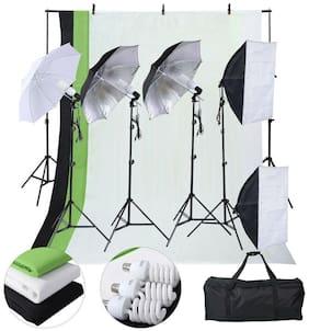 Photo Studio Photography Kit 4 Light Bulb Umbrella 3 Stand Mount Rack Shoot Tool