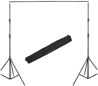 Photography Stand Kit (8ft x 8ft) Background Support System Kit Portable Foldable with Carry Bag (Background Set-2 Stand Curtain Rods & Carry Bag)