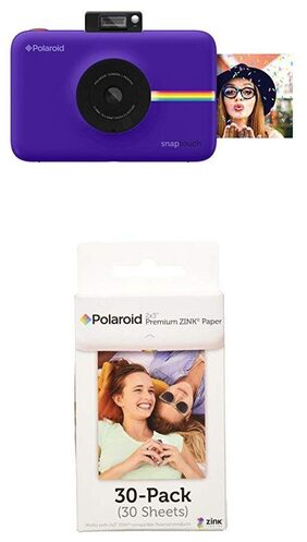 Polaroid Snap Touch Instant Print Digital Camera With LCD Display (Purple) w/ Polaroid 2x3-Inch Premium ZINK Photo Paper (30 Pack)