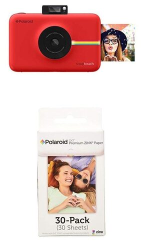 Polaroid Snap Touch Instant Print Digital Camera With LCD Display (Red) w/ Polaroid 2x3-Inch Premium ZINK Photo Paper (30 Pack)