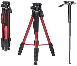 IMMUTABLE Professional Aluminium Tripod and Monopod for All DSLR Cameras (RED, Up to 6ft Height)