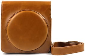 PU Leather Camera Bag For Instax Square SQ6 With Strap Brown
