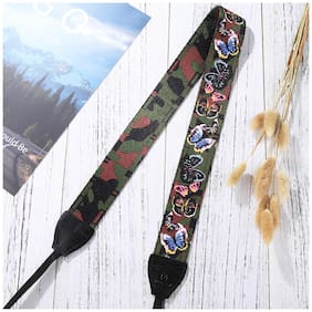 Retro Style Double Cotton Yard Colorful Pattern Shoulder Neck Strap Camera Strap Bags Wristband for Canon SLR DSLR Cameras (PU6009A)