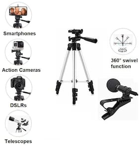 SCORIA 3110 Tripod Stand with 3-Way Head Tripod Cellphone Holder with 3.5mm Clip on Mini Collar Mic Microphone (combo of 2)