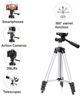 SCORIA 3110 Tripod Stand with 3-Way Head Tripod Cellphone Holder + 360 Tripod Ball Head for DSLR Camera, Digital Camera, Action Camera Smartphone