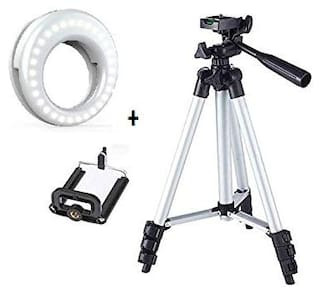 Selfie Ring Light for Mobile Cellphone Camera with 36 LED Lights for Night Darkness Selfies with 3110 3-Dimensional Head Foldable Camera Tripod Stand & Mobile Clip Holder for Tiktok Video , Youtube Vi
