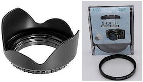 SHOPEE 55MM Tulip Flower Lens Hood for Sony Alpha 18-55 MM Lens with 55MM Saftey UV Camera Lens Filter