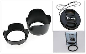 SHOPEE Combo of Canon EW60 Flower and ET60 Flower Replacement Lens Hood with 58MM Lens Cap and 58MM UV Filter