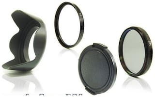 SHOPEE Numex Lens Hood + Saftey UV Filter + CPL+ Lans Cap 58 mm for CANON EOS 1000D 1100D 5D 7D 600D 650D 700D 1200D 18-55 mm 55-250 mm Lens