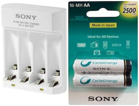 Sony BCG34HHU + 2500 2 PL BATTERY Camera Battery Charger  (White)
