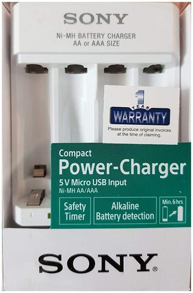 Sony BCG34HHU AA/AAA USB Input NiMH Rechargeable Battery Charger (White)
