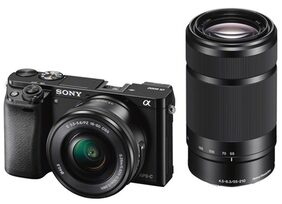 Sony ILCE-6000Y/B (24.3 MP) DSLR (Black) with SELP1650 & SEL55210 Lens + Carry Case + 8GB SD Card