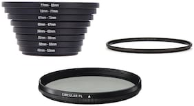Step up Ring & 82mm CPL Filter & 82 mm Slim Uv Filter- Compatible with All Lenses (Set of 10 pc) Step up Ring Form 49mm-82mm