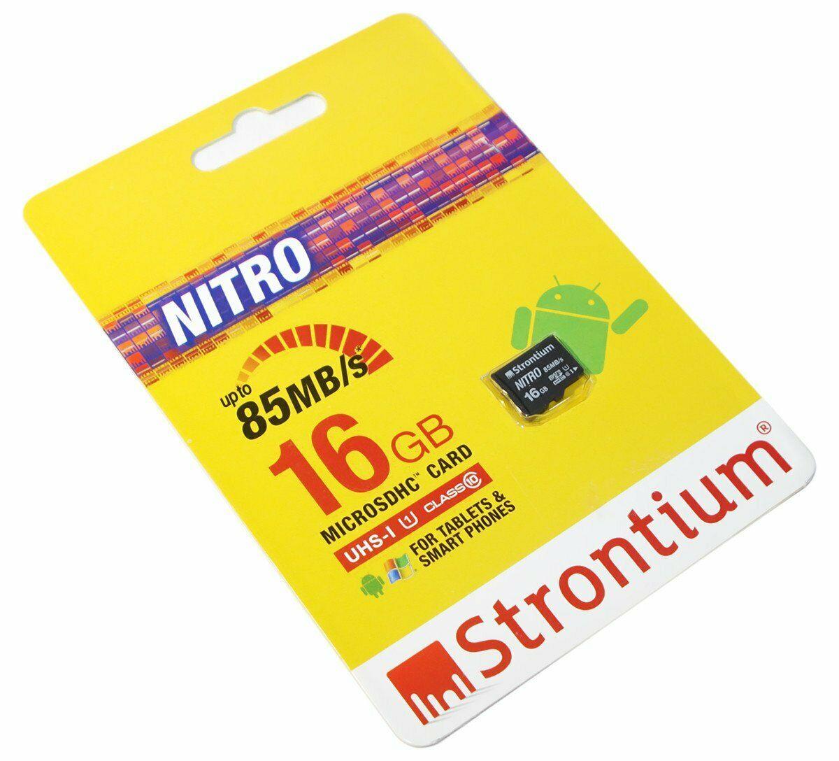 Strontium NITRO 16  GB 32  GB MicroSDHC Flash Card U1 Class 10 85MB/s lot by Stelcore