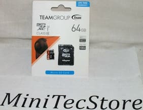 Team 64GB microSDXC UHS-I/U1 Class 10 Memory Card with Adapter