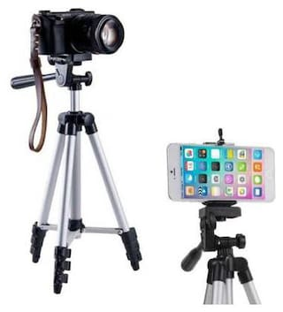 TECHFIRE 3110 Portable and Foldable Tripod with Mobile Clip Holder Bracket, Fully Flexible Mount with 3 Dimensional Head for Phones and Camera