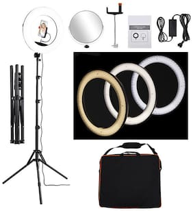 "Techzere  Camera Photo/Video Dimmable Ring Light 18"" with 240 pcs LEDs, 48w, Colour Temperature Change. for Makeup, YouTube Videos Etc."