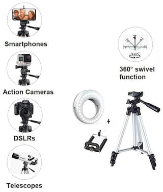 Tirpod-3110 Portable Adjustable Lightweight Camera Stand with Three-Dimensional Head Plate and Mobile Phones Tripod + Portable Selfie Beauty LED Ring Light for Smartphones Tablets tiktok Youtube Video