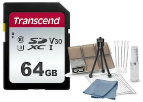 Transcend SD SDXC 64GB Class 10 UHS-1 Memory Card + Card Organizer Starter Kit