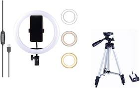 TSV 10 Inches Ring LED Ring Light with 3110 Tripod Combo for Tiktok MX Taka tak Instagram Reels
