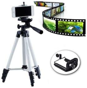 TSV 3110 3-Dimensional Head Foldable Camera Tripod Stand with Mobile Clip Holder Bracket for Tiktok/Like app Video