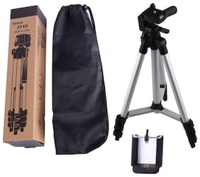 TSV 3110 3-Dimensional Head Foldable Camera Tripod Stand with Mobile Clip Holder Bracket Design For Traveling