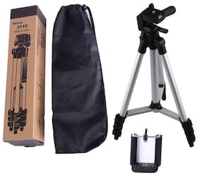 TSV 3110 3-Dimensional Head Foldable Camera Tripod Stand with Mobile Clip Holder Bracket for Tiktok Video