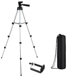 TSV 3110 Foldable Camera Tripod with Mobile Clip Holder Fully Flexible Mount Cum Tripod, Standwith 3D Head & Quick Release Plate