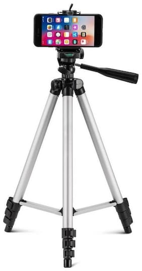 TSV 3110 Foldable Camera Tripod With Mobile Clip Holder Bracket, Fully Flexible Mount Cum Tripod & Quick Release Plate