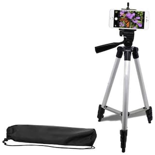 TSV 3110 Portable and Foldable Tripod Stand for Phone and Camera with Mobile Clip Holder Bracket; Stand with 3-Dimensional Head