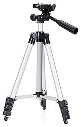 TSV 3110 Portable and Foldable Camera-Tripod with Mobile Clip Holder Bracket,3 Section Adjustable Travel Tripod