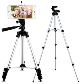 TSV 3110 Tripod Stand for Phone and Camera Adjustable Aluminium Alloy Tripod Stand Holder for Mobile Phones & Camera,Photo/Video Shoot (Black)