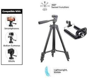 TSV 3120 Foldable Camera Tripod with Mobile Clip Holder Bracket For Oppo/Samsung/Apple/Motorola/redmi