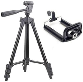 TSV 3120 Foldable Camera Tripod with Mobile Clip Holder Bracket, Fully Flexible Mount Cum Tripod, Standwith 3D Head & Quick Release Plate {Black}