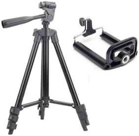 TSV 3120 Portable and Foldable Camera - Tripod with Mobile Clip Holder Bracket, Stand with 3-Dimensional Head 150 g (Black)