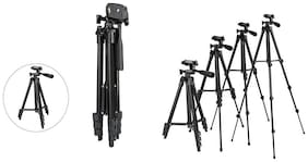 TSV 3120 Portable and Foldable Camera - Tripod with Mobile Clip Holder Bracket, Stand with 3-Dimensional Head 150 gm (Black)