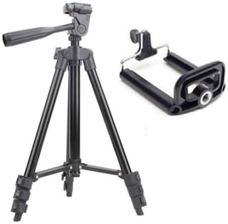 TSV 3120 Portable and Foldable Camera-Tripod with Mobile Clip Holder Bracket,4 Section Adjustable Travel Tripod (Black)