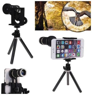 TSV  8X Optical Zoom Telescope Mobile Camera Lens Kit with Tripod & Adjustable Holder (DSLR Blur Background Effect)