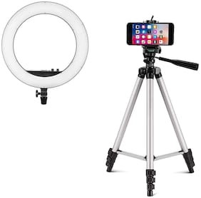 TSV LED 10 inch Selfie Ring Light with 3110 tripod for Live Stream/Makeup/YouTube Video, Dimmable Beauty Ringlight